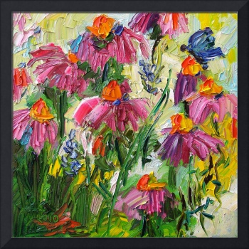 Summer Echinecea  Oil Painting by Ginette