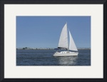 White Sailboat In The Harbor by Rich Kaminsky
