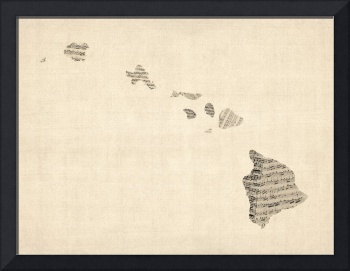 Old Sheet Music Map of Hawaii