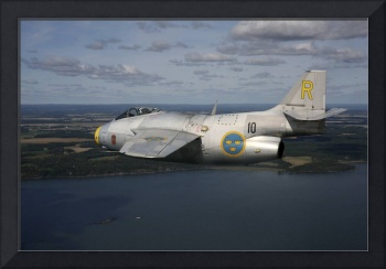 Saab J 29 vintage jet fighter of the Swedish Air F