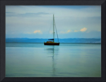 Still water with yacht
