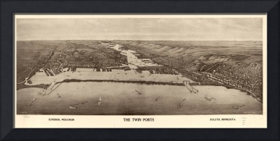 Vintage Pictorial Map of Duluth MN & Superior WI