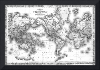 Black and White World Map (1864) 2