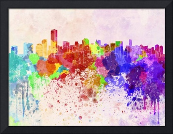 Miami skyline in watercolor background