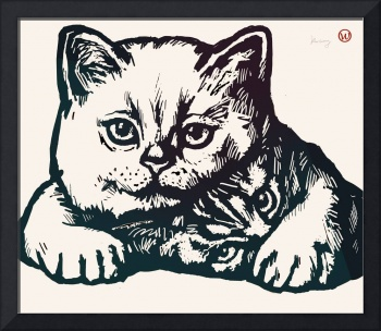 Cat Pop Modern Art Etching Poster
