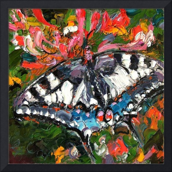 Butterfly Oil Painting by Ginette Callaway