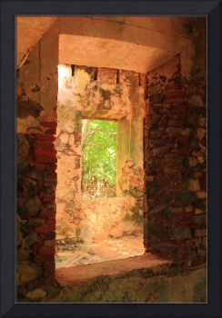 Windows through an old stone Sugar Mill