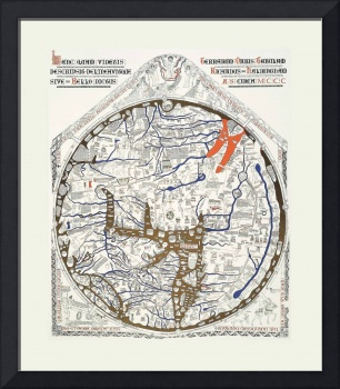 Hereford Mappa Mundi Latin Text Lrg White Border U