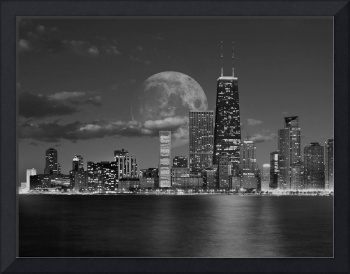 Chicago_Skyline_Moon_Clouds_BW_2
