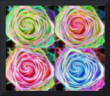 Four Colorful Electrify Roses