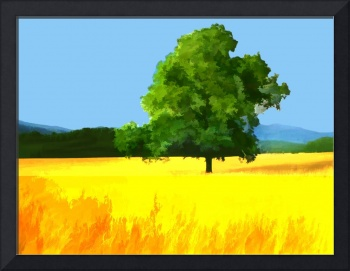 Green Tree in Golden Field