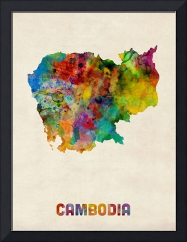 Cambodia Watercolor Map
