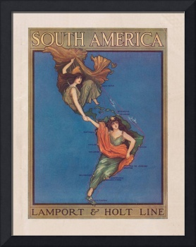 Vintage North and South America Illustrative Map (