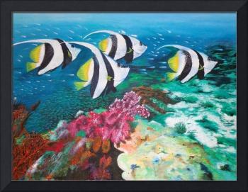 Fishes and Coral Reefs - Original Acrylic Painting