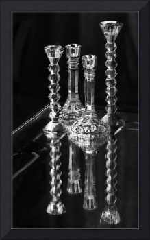 Glass Candlesticks on Table