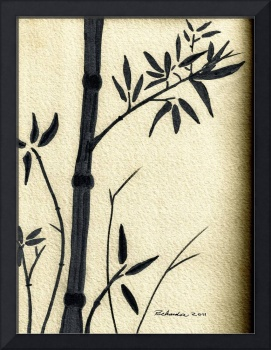Zen Sumi Antique Bamboo 1a Black Ink on Watercolor