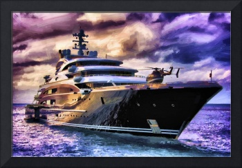 Superyacht Serene with helicopter