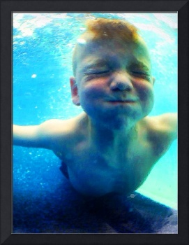 Happy Under Water Pool Boy Vertical