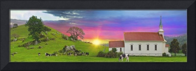 Little Country Church Sunset Panorama