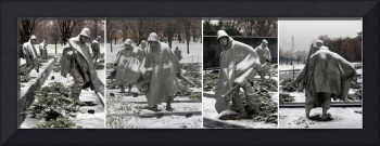 korean war memorial soldiers Statutes winter snow