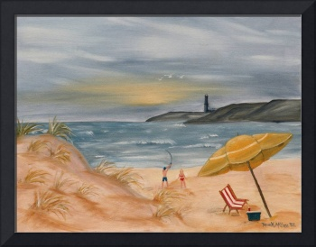 beach oil painting coastal decor