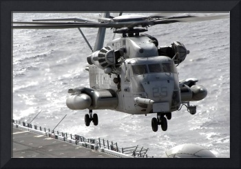 A CH53E Super Stallion helicopter takes off from U