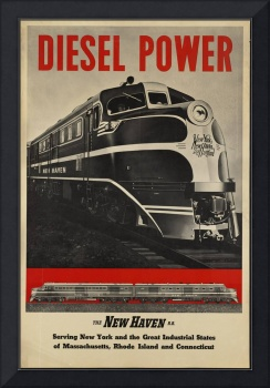 Diesel Power Train Vintage Travel Poster Ad Retro