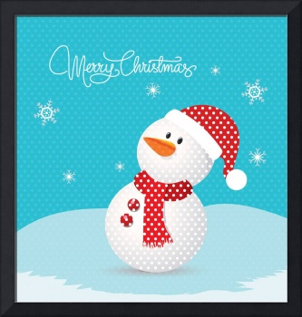 Merry christmas with snowman retro