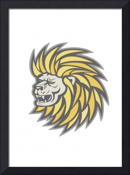 Lion Head With Flowing Mane Retro