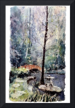 Watercolor batik painting of Duke Gardens, NC