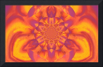 Lotus in Orange  and Yellow Satin
