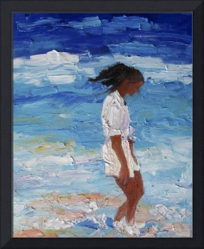 Beachcombing Ginette Self Portrait Oil Painting