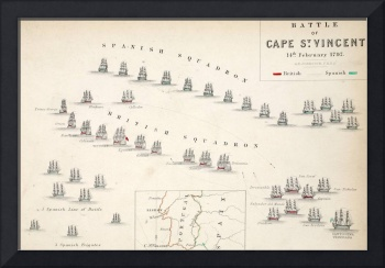 Map of the Battle of Cape St. Vincent