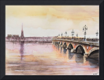 Pont de pierre - Bordeaux - Watercolor