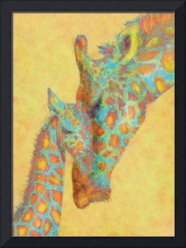 orange and aqua giraffes
