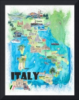 Italy Illustrated Travel Poster Favorite Map Touri