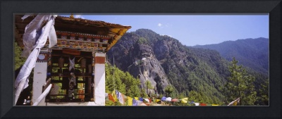 Monastery on a mountain with Taktshang in the bac