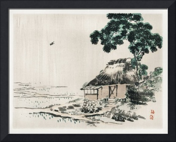 Cottage Under a Tree by Kono Bairei