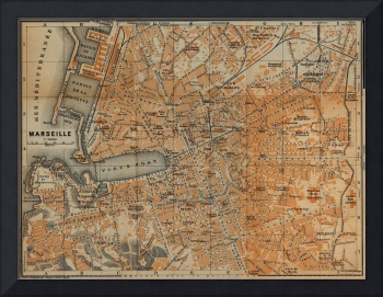 Vintage Map of Marseille France (1914)