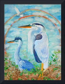Go on Alone- Great Blue Herons and an Egret