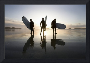 Silhouette Of Surfers Carrying Surfboards, Chester