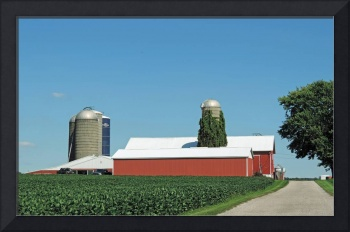 Vintage Silos and Modern Red Barns - 4020