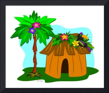 Tropical Hut and Toucan