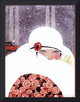 WOMAN IN THE SNOW,WINTER ART DECO BEAUTY FASHION