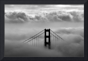 Golden Gate Bridge in the Clouds B&W