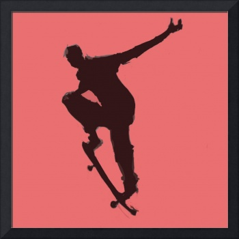 Skateboarder 1 . red pink charcoal gray black (c)