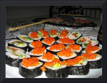 Sushi, rolls with smelt trout roe a bit closer.