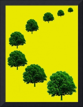 Big trees in perspective on yellow background. cop