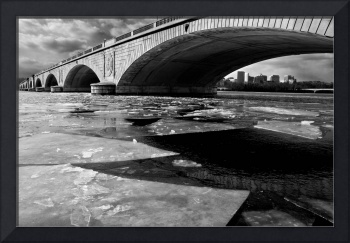 Memorial Bridge Over the Frozen Potomac River