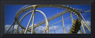 Low angle view of a rollercoaster in an amusement